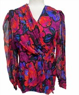 Adrianna Papell 100% Silk Surplice Floral Pleated Evening Blouse Size 6 Small - $69.23