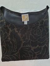 JM Collection 2X Black & Gold Stretchy 3/4 Sleeve Longer Top EUC - $14.85