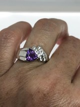 Vintage Amethyst Ring White Sapphire 925 Sterling Silver Size 7 - $106.93