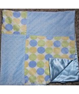 Patchwork Squares Baby Blanket Satin Blue Green Yellow Polka Dot Minky D... - $18.79