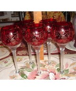 VTG CZECH BOHEMIAN 24k RUBY RED GLASS ENGRAVED GRAPES TWISTED STEM GOBLE... - $397.99