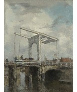 Jacob Maris - A Drawbridge in a Dutch Town - 24x32 inch Canvas Wall Art ... - $51.99