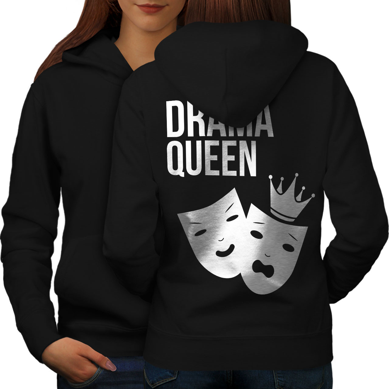 Primary image for Drama Queen Cool Funny Sweatshirt Hoody Mask Emotion Women Hoodie Back
