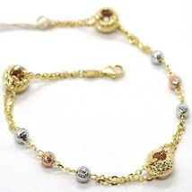 BRACELET YELLOW GOLD WHITE ROSE 18K 750,CIRCLES AND SPHERES ALTERNATING - $381.69