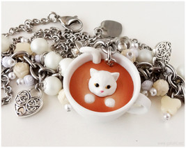 White Cat Necklace, Cluster Pearl Necklace, Stainless Steel - Sweet Loli... - $44.00