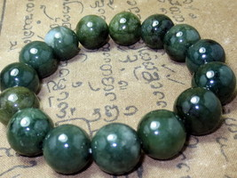 Very Rare! Magic Dark Green Jade Bracelet Top Charm Power Thai Buddha Amulets - $9.99