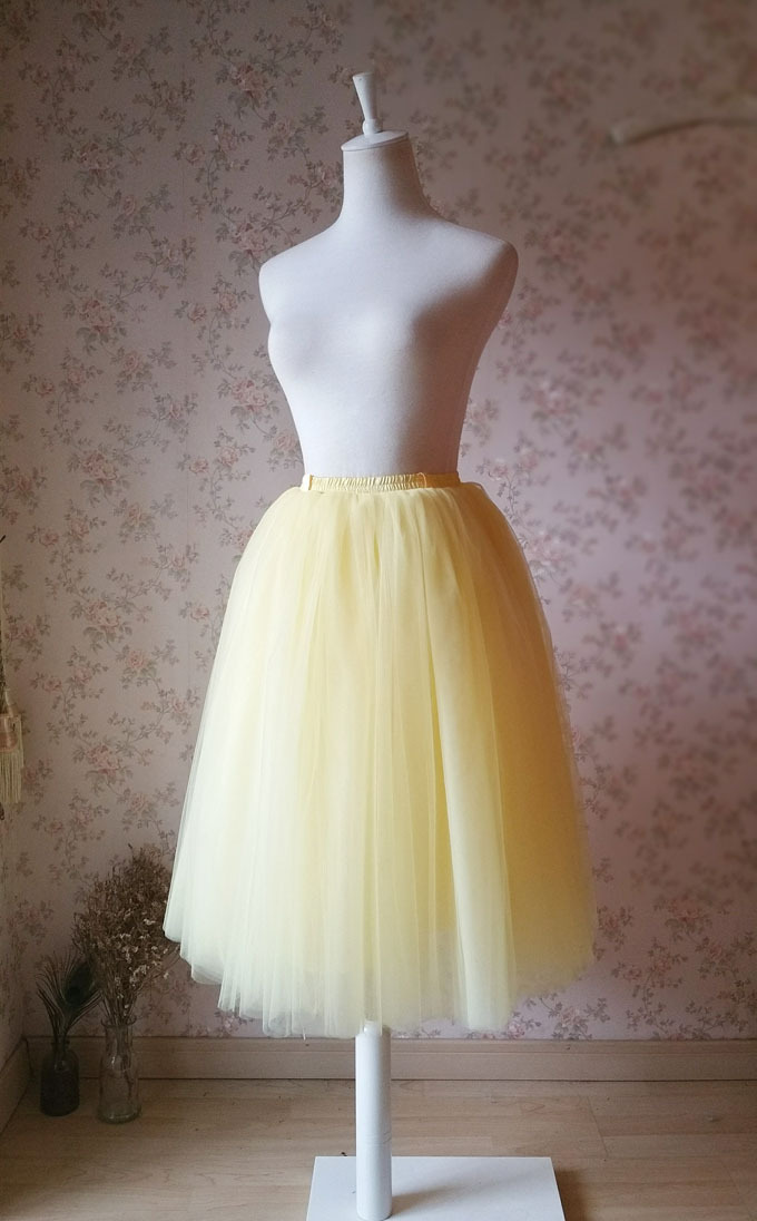 Women YELLOW Tutu Midi Skirt High Waist 4 layer Midi Tutu Skirt Party Plus Size