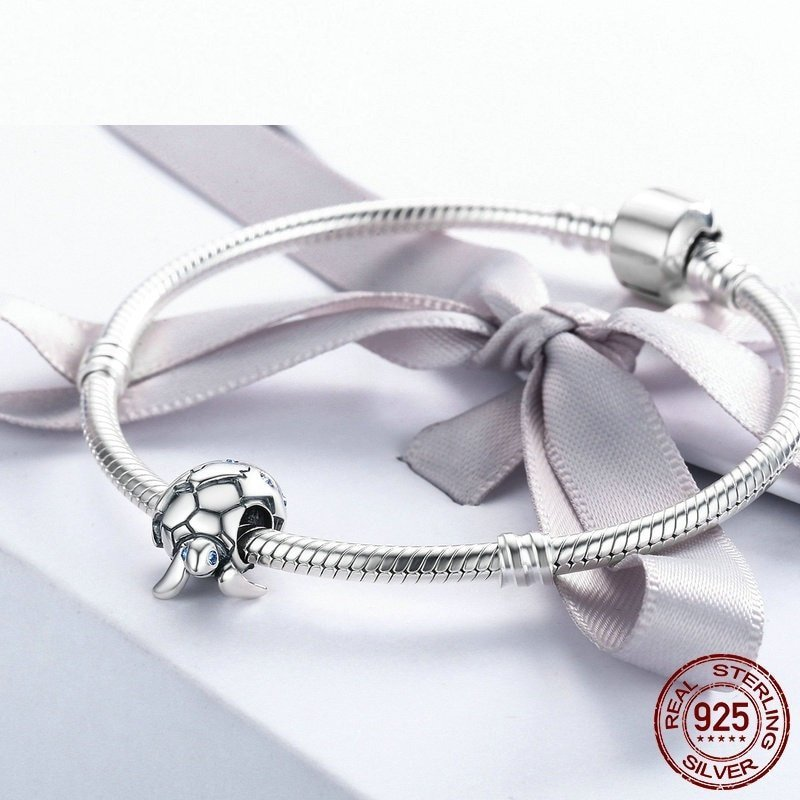 Authentic Design 925 Sterling Silver Newborn Turtle Beads Charms Fit Pandora