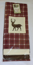 Deer Dish Towel Set (3) Maroon Plaid Embroidered Off White Brown Kitchen... - $18.80