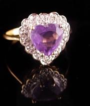 10KT Gold Ring - amethyst heart stone - purple sweetheart size 7 ring - ... - $225.00