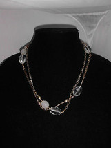 VTG Gold Tone Plastic Clear Beaded Chain Link Necklace - $5.94