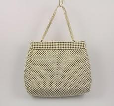 Vintage Whiting & Davis Alumesh Off White Beaded Purse Handbag with Chan... - $26.25