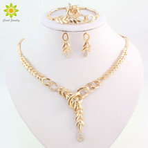 African Costume Necklace Earrings Sets Fashion Crystal  Gold Color Women... - $33.69