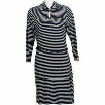 RALPH LAUREN Navy Blue White Striped Cotton Knit Belted Shirtdress Dress XL - $59.99