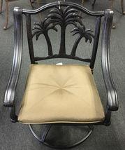 3 piece bistro patio set Palm Tree cast aluminum outdoor end table Bronze chairs image 4