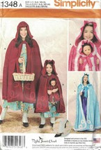 "Simplicity 1348 Matching Caps & Capes for Misses, Child & 18"" Doll Patte... - $9.89"
