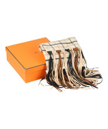 Authentic Hermes Vintage Cashmere and Wool Scarf with Leather Fringes - $851.40