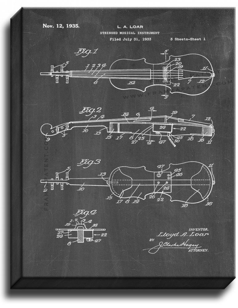 Primary image for Stringed Musical Instrument Patent Print Chalkboard on Canvas