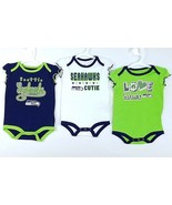 NFL Seattle Seahawks Infants 3PK Creeper Bodysuit Set - $19.77