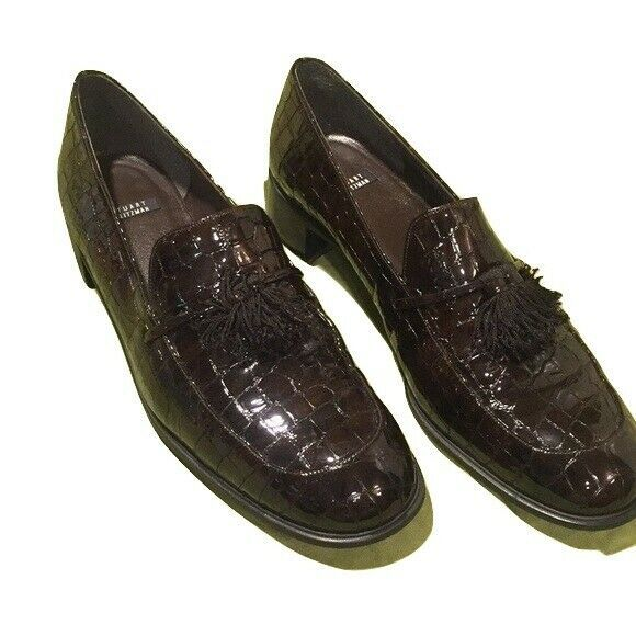 Primary image for STUART WEITZMAN 8.5B dark brown crocodile tasseled loafers shoes patent tassels