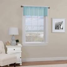 "Solid Basket Weave Textured Rod Pocket Window Valance, Agua 60"" x 14"" - NEW - $17.98"