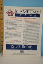 1993 Texas Rangers Game Day New vs Oakland A's - $9.99