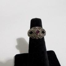 Avon Woven Knot Faux Marcasite Ring Purple Stone Size 6 - $9.89