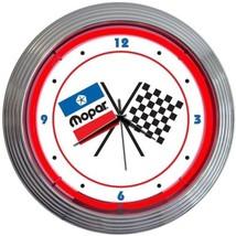 """Mopar Checkered Flag Neon Clock 15""""x15"""" - $72.99"""
