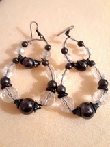 STUNNING VINTAGE ESTATE LONG DANGLING CLEAR & HEMATITE BEADS EARRINGS - $3.00