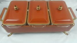 Vintage 3 Pc Brass Serving Tray Buffet Style Fire King Glass Candle Warmed - $74.25
