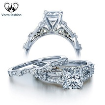White Gold Plated 925 Sterling Silver Bridal Engagement Ring Set Princess Cut CZ - $85.99