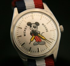 Vintage 1970's HMT 17 jewel, serviced Mickey Mouse silver dial wristwatch - $69.30