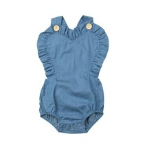 Cute Toddler Summer Clothes Baby Girl Denim Ruffle Bodysuit Solid V-Neck - $8.49+