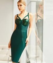 2021 New Winter Spaghetti Strap Sleeveless Bandage Dress Sexy Sequins Women Midi image 5
