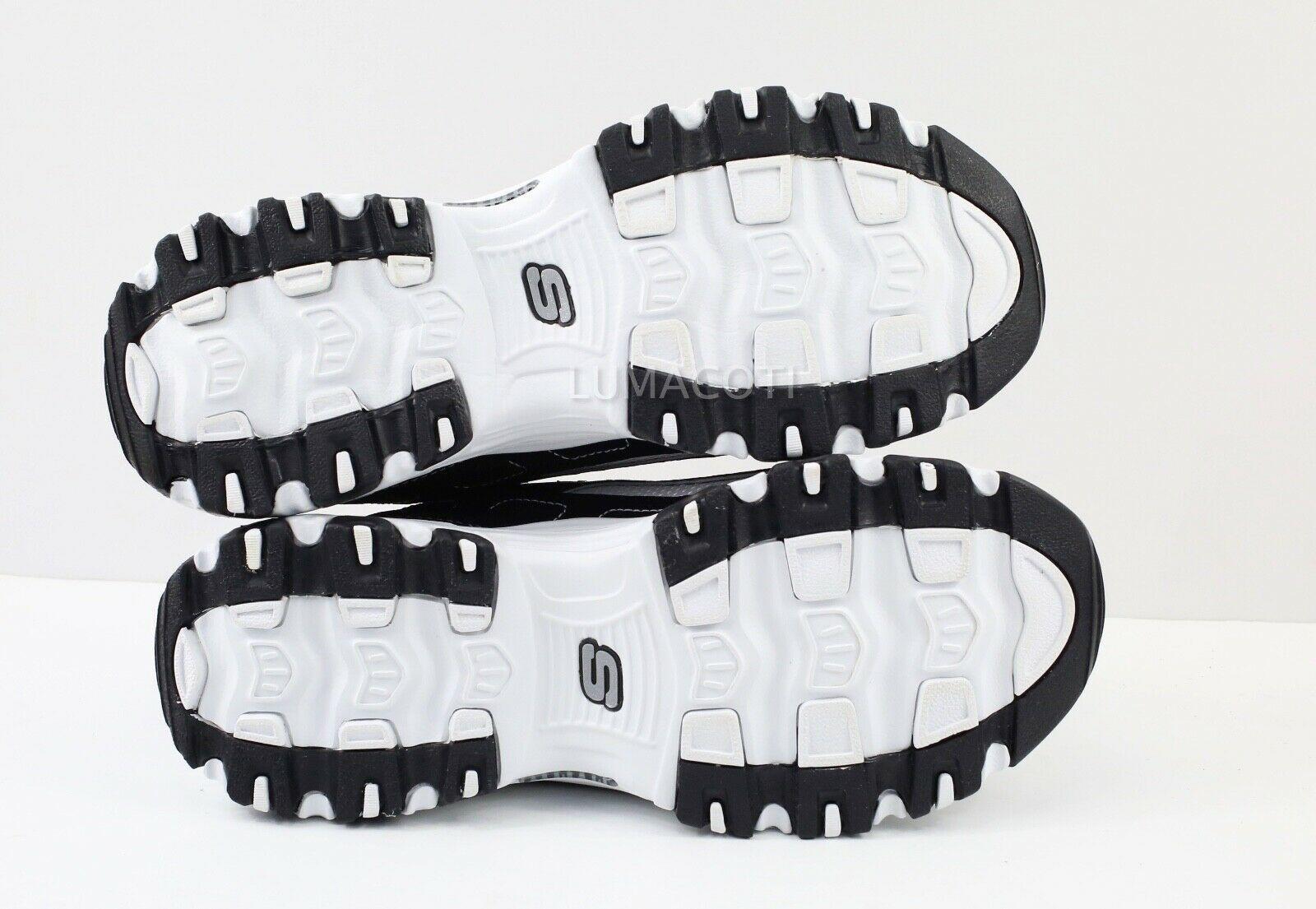 Womens Skechers D'Lites Biggest Fan Sneakers - Black/White Size 7 [11930/BKW]