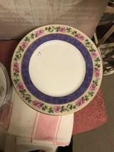 Black Knight Bavaria Dinner Plate Purple Edge Pink Roses image 1