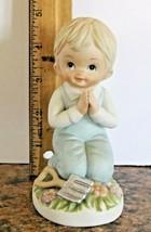 Home Interiors Figurine Boy Praying w/Shovel #1452 Porcelain Homco VGCond - $9.90