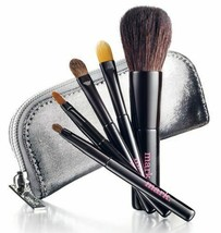 Avon mark Mini Brush Set Silver Metallic case - $16.83