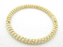 VTG Gold Tone White Glass Bead Twist Bangle Bracelet image 2