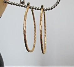 """Long Oval Gold Hoop Earrings Textured fashion costume classic 1.75"""" Drop... - $6.93"""