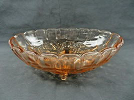 Mid Century Modern large heavy amber glass footed bowl fruit dish center... - $30.00