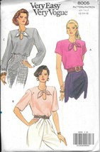 Vintage Vogue #8005 Misses Blouses/3 Versions - Size 12-16 - $8.42