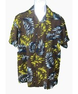 Milano Bay Me's Short Sleeve Button Down Floral Shirt Brown Large - $10.89