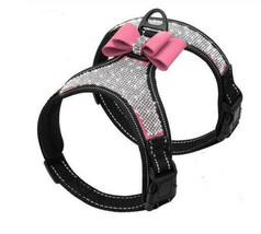 Pamper Your Puppy! Rhinestone Dog Harness with Pink Bow! Size L