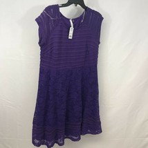 NY Collection Womens Blouse Purple Floral Sleeveless Lace Lined Top Plus 1X - $17.81