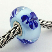 Authentic Trollbeads Murano Light Blue Flower Bead Charm 61156, New - $21.84