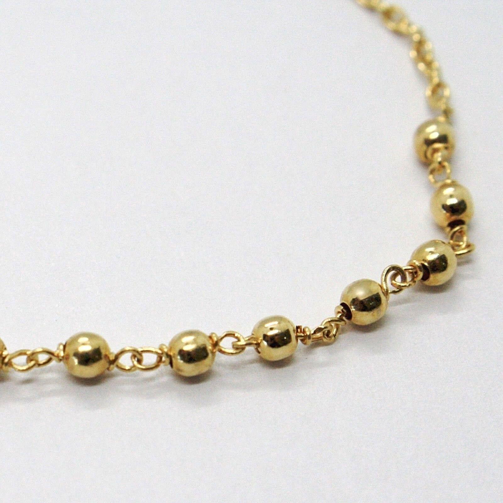 Pulsera Oro Amarillo 18K 750 , Rosario, Esferas 2.5 mm, Cruz, Medalla Milagrosa image 2
