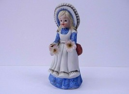 "Vintage Ceramic Little Girl Figurine Blue Dress Flowers Basket 6"" - $10.24"