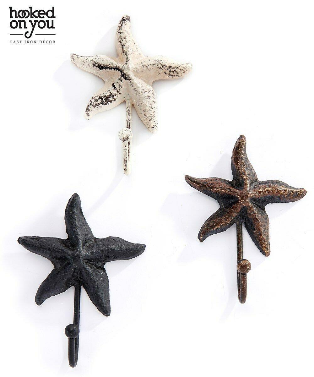 Starfish Single Hook Nautical Cast Iron Set 4 same color- Brown, Black or White