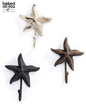 Set of 4 Starfish Design Single Hook Cast Iron - Colors Avail Brown Black White image 1